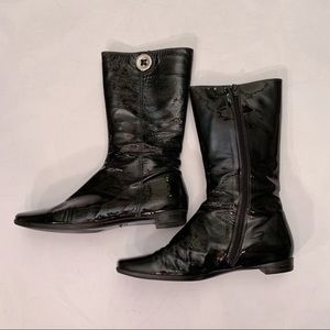 Coach Short Black Patent Leather Boots, Size 8.5